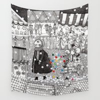 ed sheeran Wall Tapestries featuring After Hours at the Christmas Market by Judith Clay