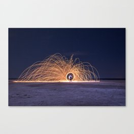 Steel sparkle ring made at night in a saline Canvas Print