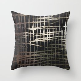 metallic grid Throw Pillow