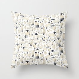 Watercolour Sheep Throw Pillow