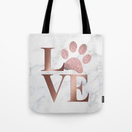 Love is a Four Letter Word - Rose Gold and Marble Tote Bag