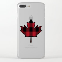 Plaid Maple Leaf Clear iPhone Case