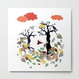 Leaves and crows Metal Print