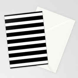Wide Horizontal Stripe: Black and White Stationery Cards
