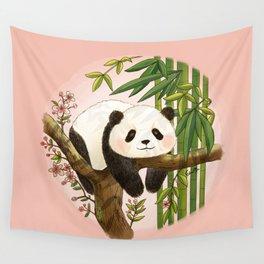 Panda under sunlight - Pink Wall Tapestry