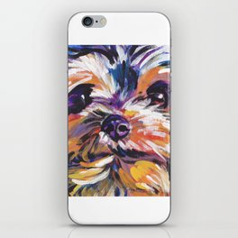 Fun Yorkie Dog Portrait bright colorful Pop Art Painting by LEA iPhone Skin