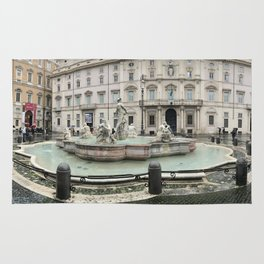 3 legged man in Piazza Navona Rome Italy Rug