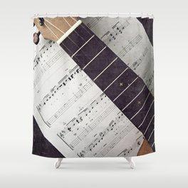 happy strings {ukulele Shower Curtain