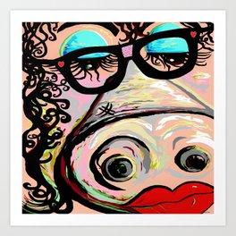 Hipster Pig Art Print