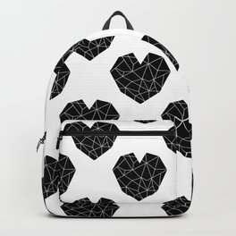 Hearts black and white geometric minimal abstract valentines day gift for gender neutral him or her  Backpack