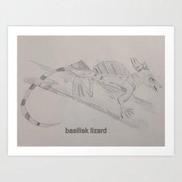 Basilisk Lizard Sketch Art Print