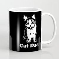 dad Mugs featuring Cat Dad by Artist Abigail