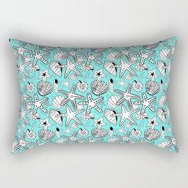 Seashells and Starfish - Turquoise Rectangular Pillow