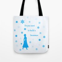 snowman Tote Bags featuring Snowman by BlackBlizzard