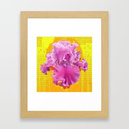 PINK FRILLY GARDEN IRIS YELLOW ART Framed Art Print
