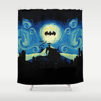 gotham Shower Curtains featuring Starry Knight Gotham City by DavinciArt
