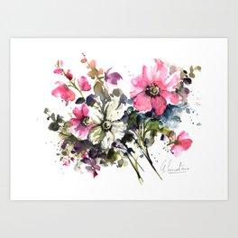 Blooming Joy Watercolor Loose Floral Painting by Mylittlebasil.studio Art Print