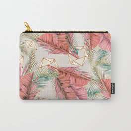 Pink tropical leaf pattern Carry-All Pouch