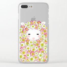 Pastel Tone Flowery Sheep Design Clear iPhone Case