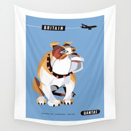 1960 BRITAIN Qantas Airline Advertising Poster Wall Tapestry