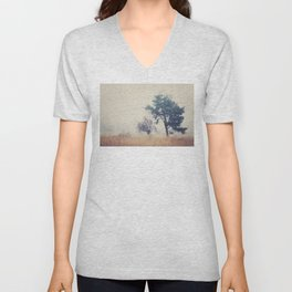 the story ... a tree & a field clouded in morning fog Unisex V-Neck