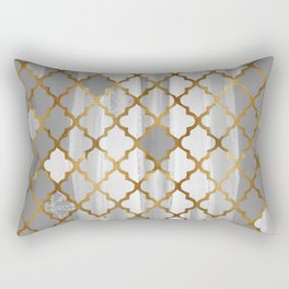 Moroccan Tile Pattern In Grey And Gold Rectangular Pillow