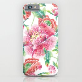Pink Flowers Green Leafs pattern iPhone Case