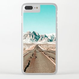 Vintage Desert Road // Winter Storm Red Rock Canyon Las Vegas Nature Scenery View Clear iPhone Case