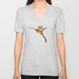 Tree Frog Playing Acoustic Guitar with Flag of England Unisex V-Neck