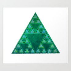 Sierpinski Triangle In Green Art Print
