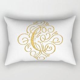 Monogram C Calligraphy Gold Rectangular Pillow