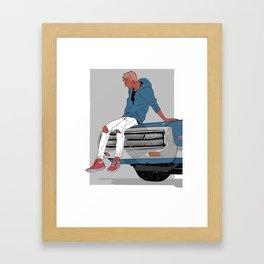Little Finch and the Car Framed Art Print