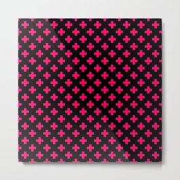 Hot Neon Pink Crosses on Black Metal Print
