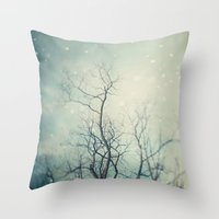 poem Throw Pillows featuring Winter Poem  by Laura Ruth