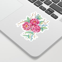 Watercolor flower composition with peonies and branches Sticker