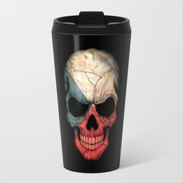 Dark Skull with Flag of Czech Republic Travel Mug