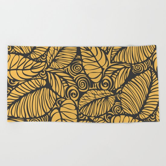 Summer Leaves Gold Beach Towel