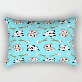 Cute funny Kawaii chibi little playful baby panda bears, happy sweet cheerful sushi with shrimp on top, rice balls and chopsticks light pastel blue pattern design. Nursery decor. Rectangular Pillow