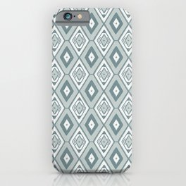 Mint green and white tribal diamond pattern iPhone Case