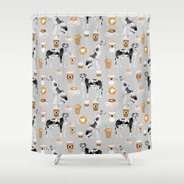 Great Dane coffee lover custom pet portraits by pet friendly dog breed illustration Shower Curtain