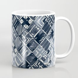 Simply Tribal Tiles in Indigo Blue on Lunar Gray Coffee Mug