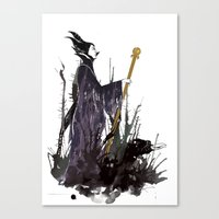maleficent Canvas Prints featuring Maleficent by Louise Hubbard