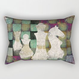 Paint and Print  Chessboard and Chess Pieces Rectangular Pillow