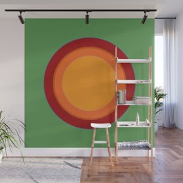 70s Retro Chic sunspot in Soothing Green Wall Mural