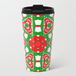 Red, Green and White Kaleidoscope 3372 Travel Mug