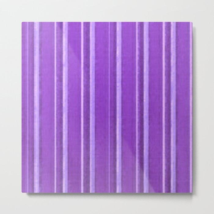 Retro Lavender Purple Grunge Primitive Stripe Metal Print