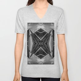 Alien Mothership and Cloudscape in Black and White Unisex V-Neck