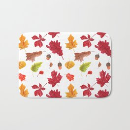 Autumn leaves pattern. Seamless pattern with various hand drawn autumn leaves.  Bath Mat
