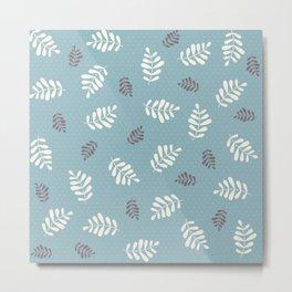 Falling Leaves – Blue Metal Print