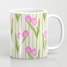 Retro. Pink tulips on a green striped background . Coffee Mug